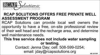 RCAP Solutions Offers FREE Private Well Assessment Program