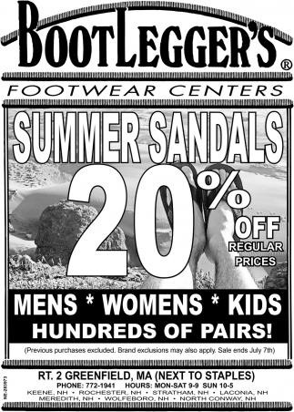 Summer Sandals 20% OFF
