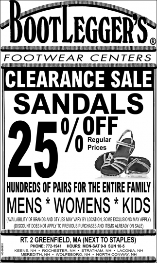 Clearance Sale Sandals 25% OFF