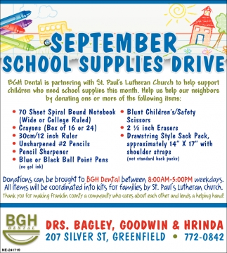 September School Supplies Drive