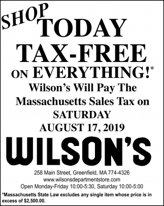 Shop Today Tax-Free on Everything