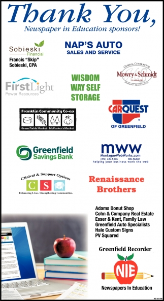 Thank You Newspaper in Education Sponsors