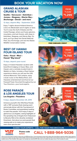Book Your Vacation Now