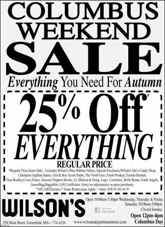Columbus Weekend Sale