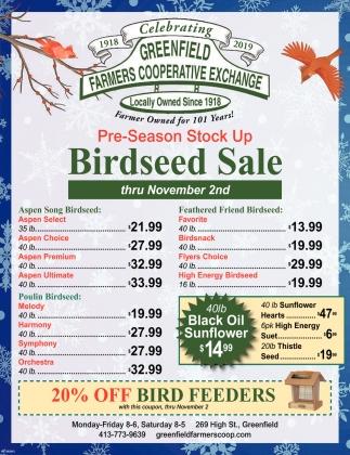 Birdseed Sale