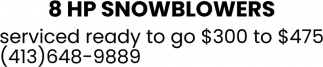 8 HP Snowblowers