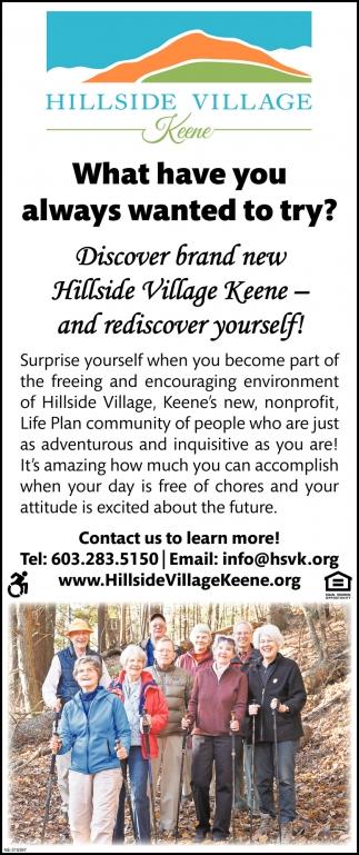 Discover Brand New Hillside Village Keene