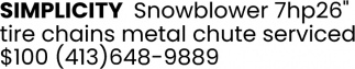 Simplicity Snowblower