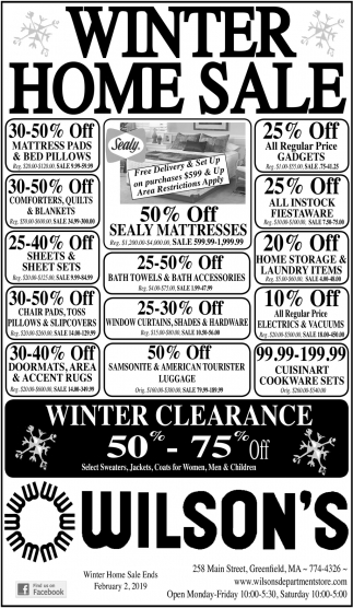Winter Home Sale