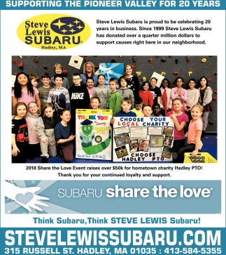 Supporting the Pioneer Valley for 20 Years, Steve Lewis Subaru