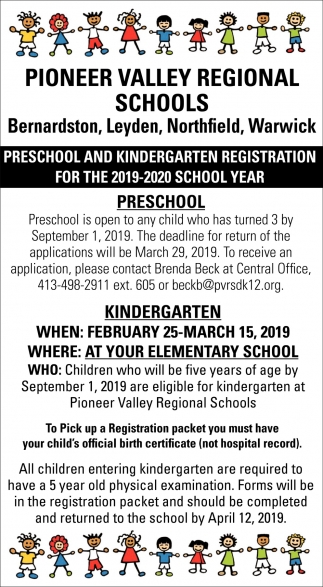 Preschool and Kindergarten Registration