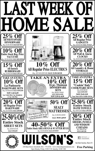 Last Week of Home Sale