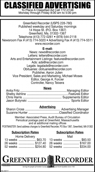 Classified Advertising, Greenfield Recorder