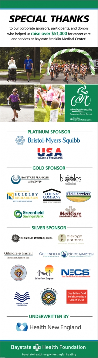 Special Thanks to Our Corporate Sponsors, Participants, and Donors