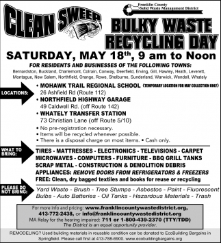 Clean Sweep, Bulky Waste Recycling Day - Franklin County Solid Waste