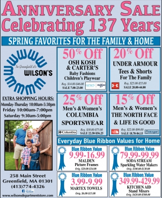 Anniversary Sale Celebrating 137 Years