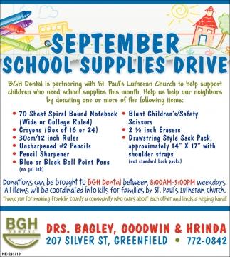 September School Supplies Drive