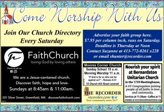 Come Worship With Us, Greenfield Recorder, Greenfield, MA